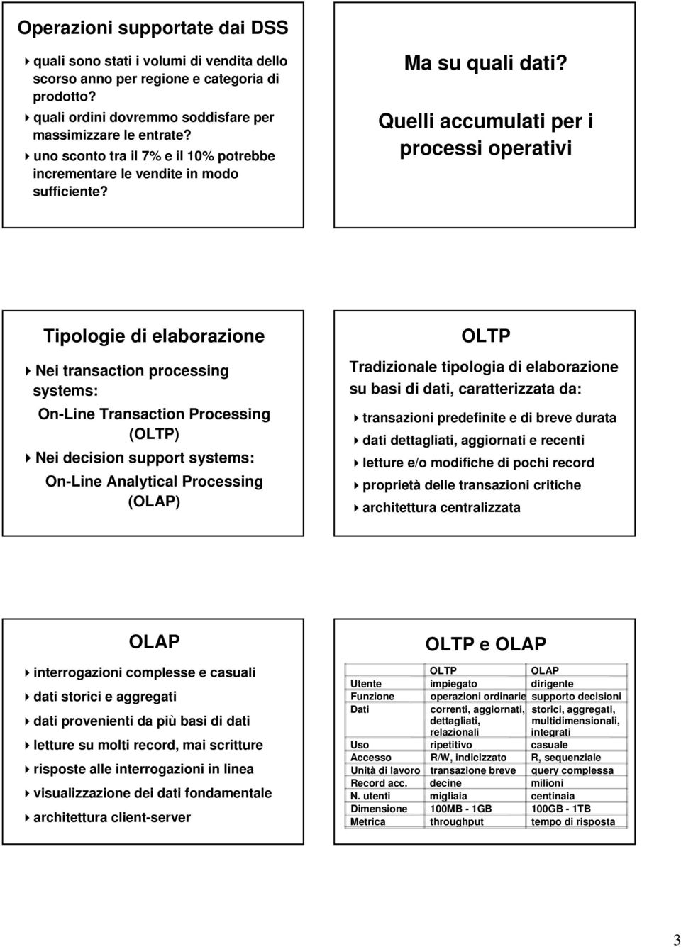 Quelli accumulati per i processi operativi Tipologie di elaborazione Nei transaction processing systems: On-Line Transaction Processing (OLTP) Nei decision support systems: On-Line Analytical