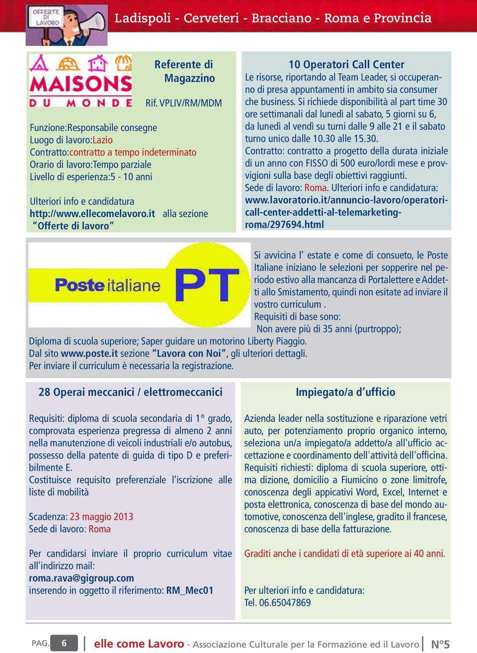 candidatura http://www.ellecomelavoro.