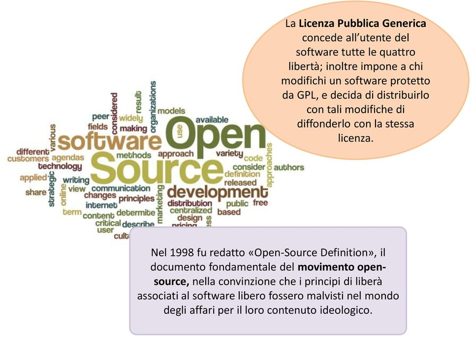 Nel 1998 fu redatto «Open-Source Definition», il documento fondamentale del movimento opensource, nella convinzione