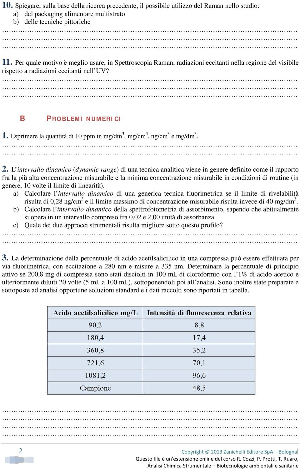 Esprimere la quantità di 10 ppm in mg/dm 3, mg/cm 3, ng/cm 3 e mg/dm 3. 2.