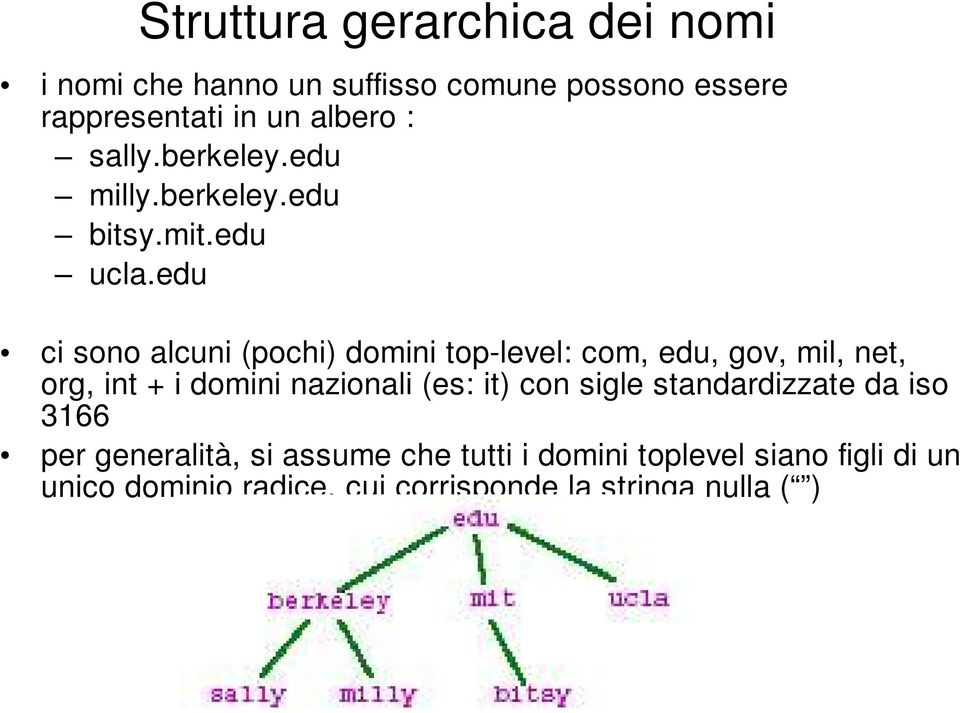 edu ci sono alcuni (pochi) domini top-level: com, edu, gov, mil, net, org, int + i domini nazionali (es: it)