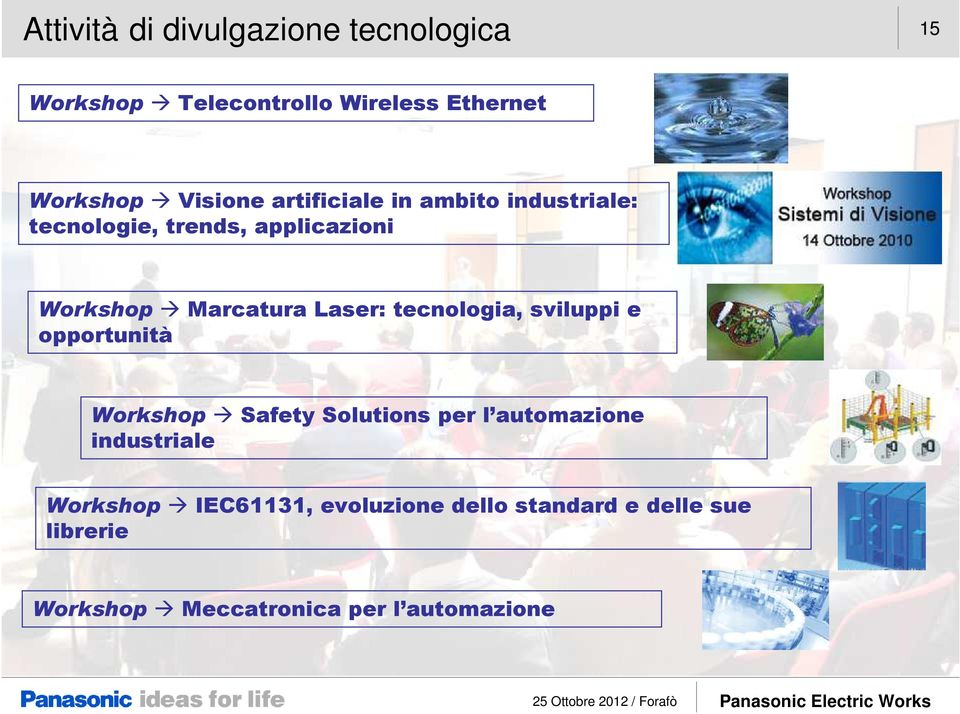 Laser: tecnologia, sviluppi e opportunità Workshop Safety Solutions per l automazione