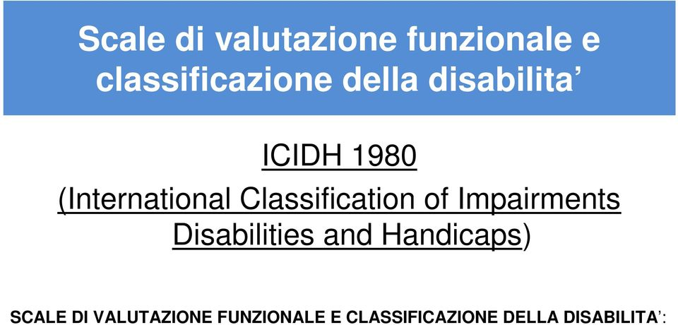 1980 (International Classification of Impairments Disabilities and