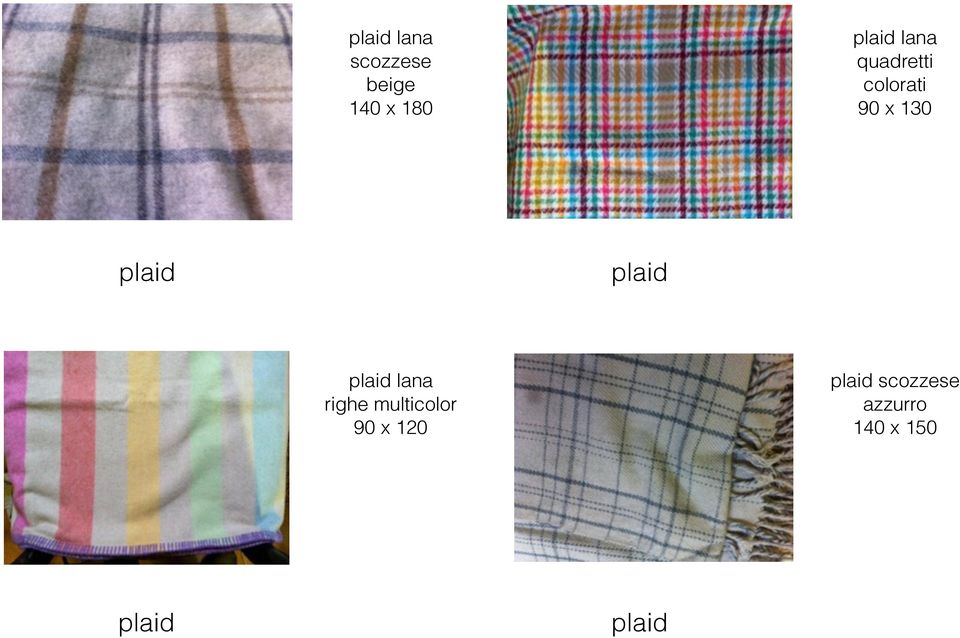 plaid plaid lana righe multicolor 90 x