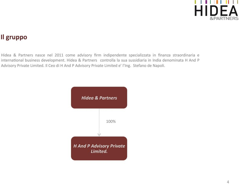 Hidea & Partners controlla la sua sussidiaria in India denominata H And P Advisory Private