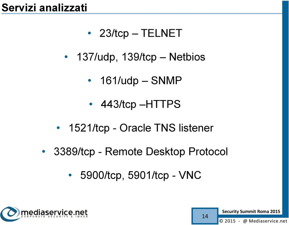 1521/tcp - Oracle TNS listener 3389/tcp -