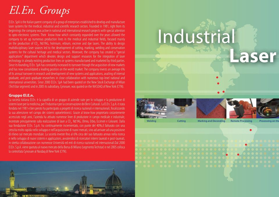 Their know-how which constantly expanded over the years allowed the company to set up numerous production lines in the medical and industrial fields, focused mainly on the production of CO 2, Nd:YAG,