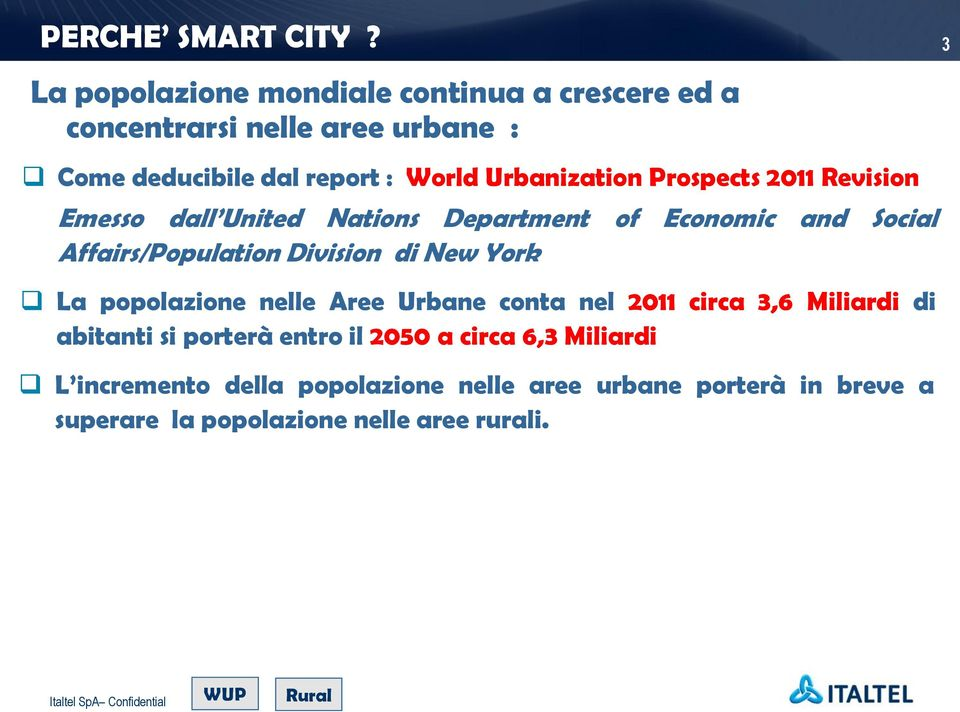 Urbanization Prospects 2011 Revision Emesso dall United Nations Department of Economic and Social Affairs/Population Division di