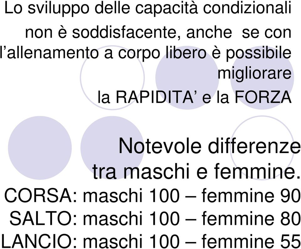 la FORZA Notevole differenze tra maschi e femmine.