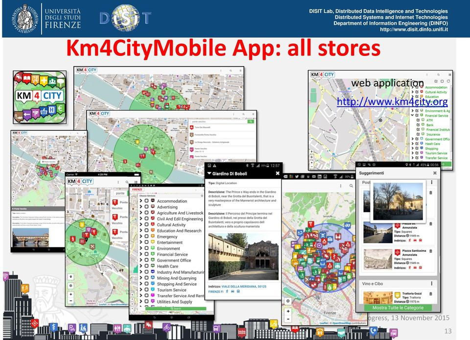 Km4CityMobile App: all stores