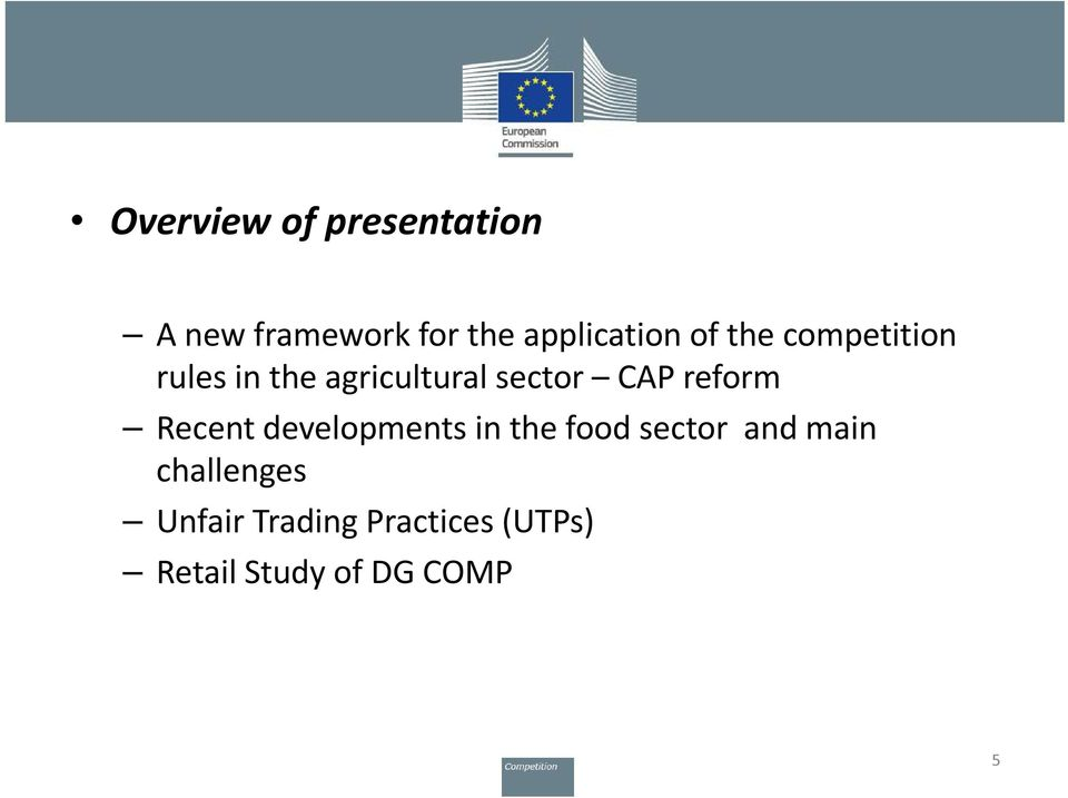 sector CAP reform Recent developments in the food sector