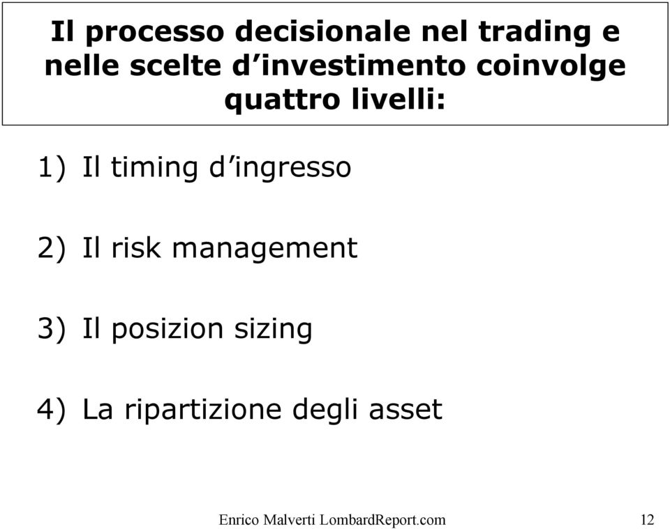 ingresso 2) Il risk management 3) Il posizion sizing 4)
