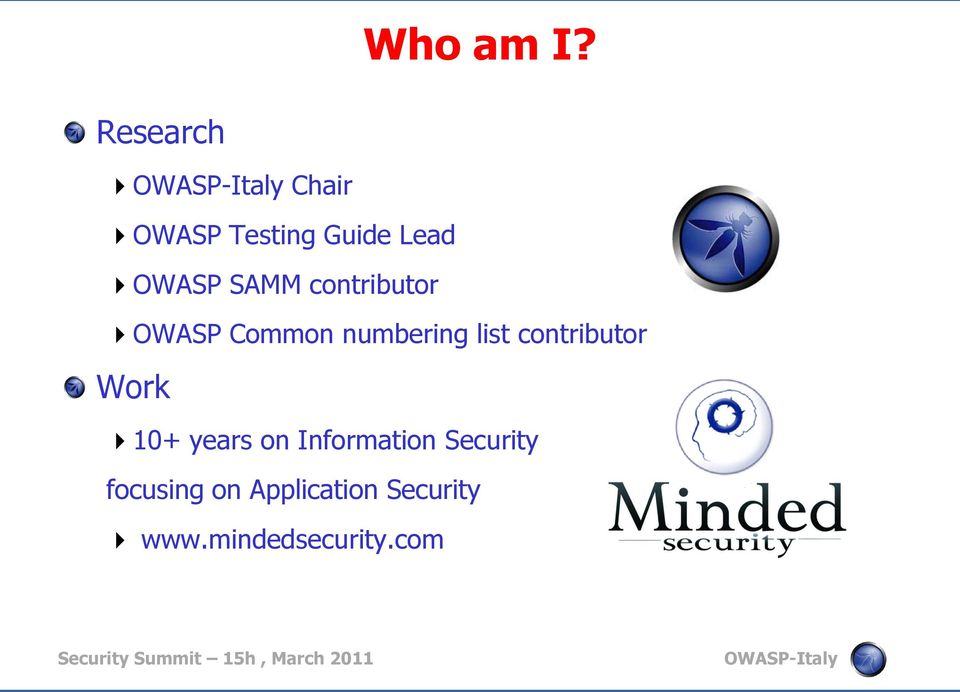 contributor OWASP Common numbering list contributor Work
