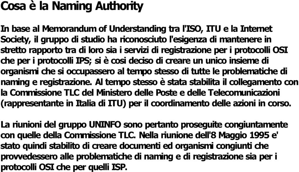 naming e registrazione.