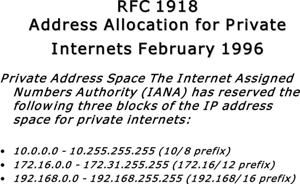 of the I P address space for private internets: 10.0.0.0 10.255.255.255 (10/ 8 prefix) 172.