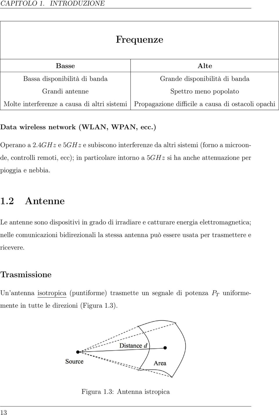 causa di ostacoli opachi Data wireless network (WLAN, WPAN, ecc.) Operano a 2.