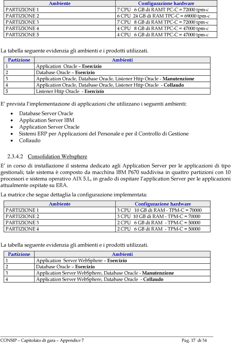 Partizione Ambienti 1 Application Oracle Esercizio 2 Database Oracle Esercizio 3 Application Oracle, Database Oracle, Listener Http Oracle - Manutenzione 4 Application Oracle, Database Oracle,