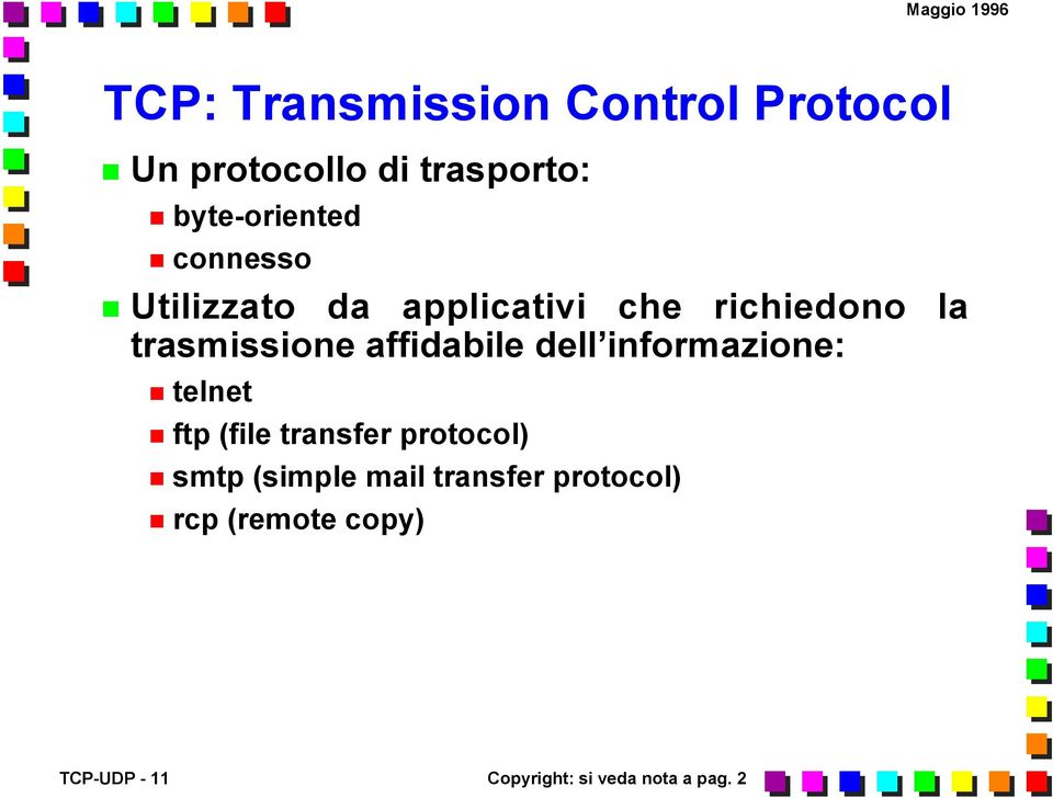 dell informazione: telnet ftp (file transfer protocol) smtp (simple mail