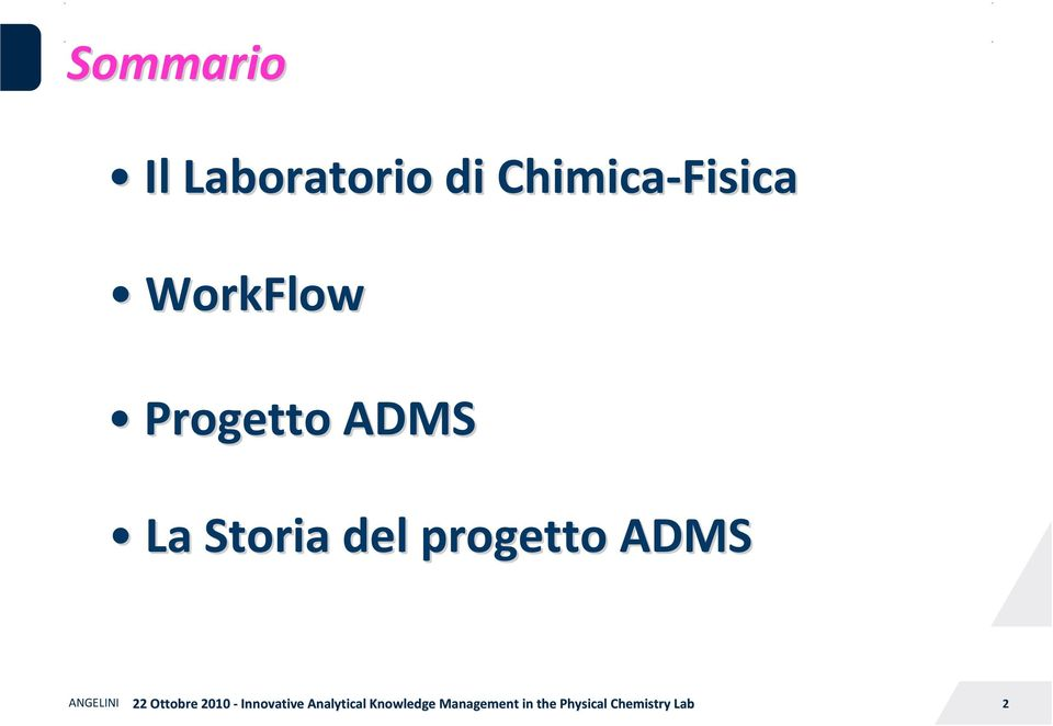 WorkFlow Progetto ADMS