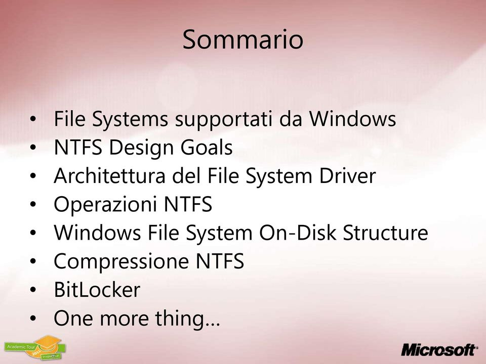 Operazioni NTFS Windows File System On-Disk