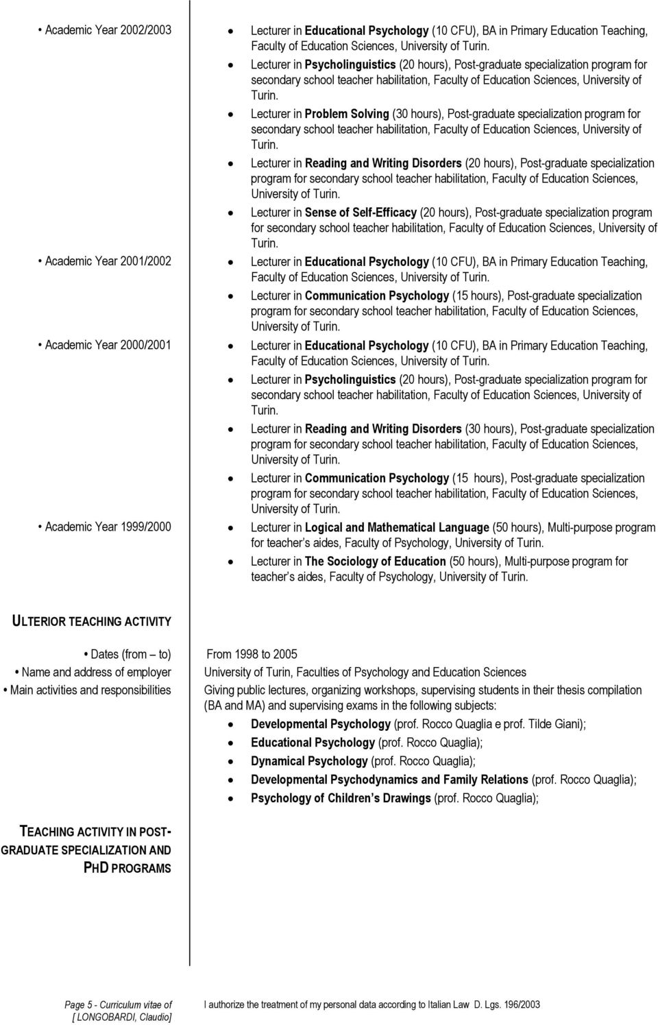 secondary school teacher habilitation, Faculty of Education Sciences, University of Lecturer in Reading and Writing Disorders (20 hours), Post-graduate specialization Lecturer in Sense of