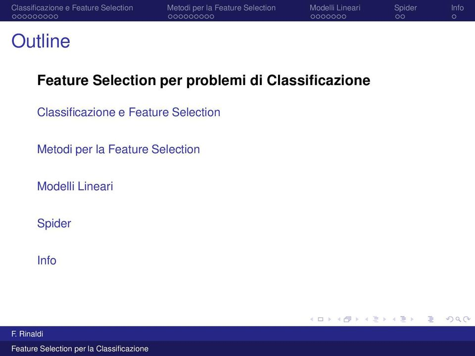 Feature Selection Metodi per la