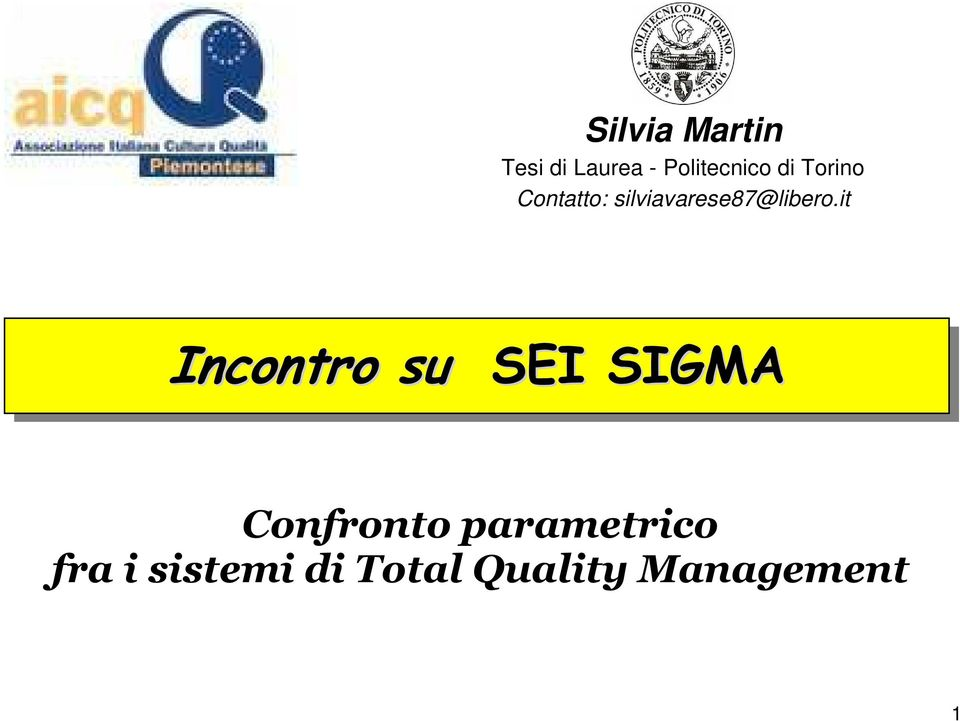 it Incontro su SEI SIGMA Confronto