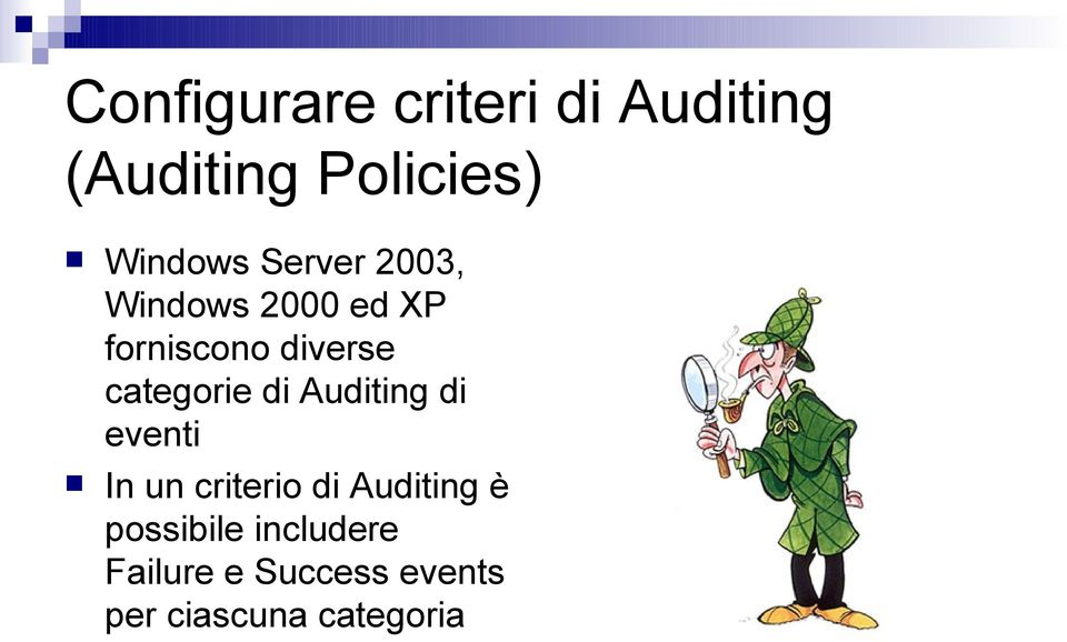 categorie di Auditing di eventi In un criterio di Auditing