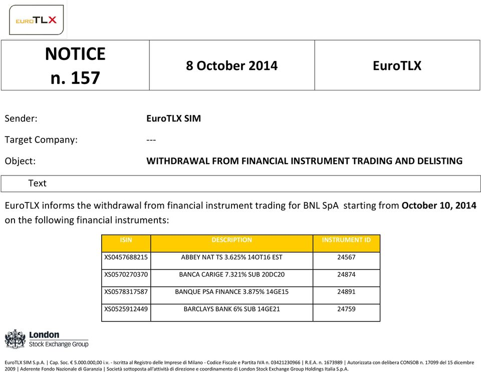 DELISTING Text EuroTLX informs the withdrawal from financial instrument trading for BNL SpA starting from October 10, 2014 on the