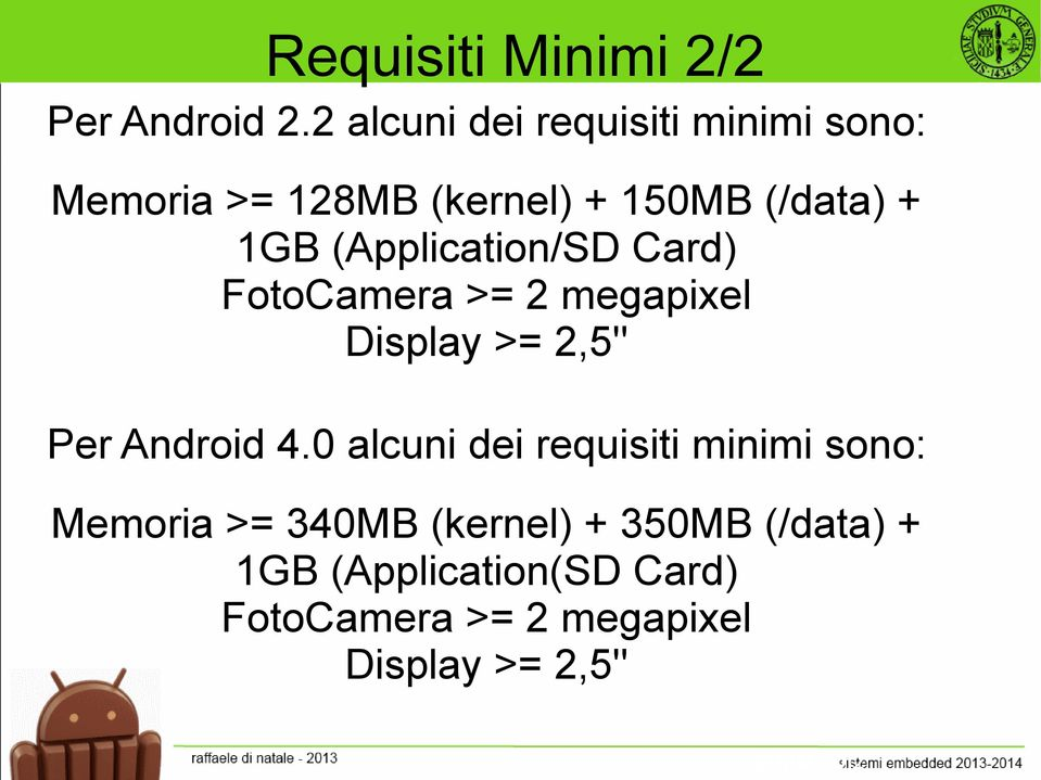 (Application/SD Card) FotoCamera >= 2 megapixel Display >= 2,5'' Per Android 4.
