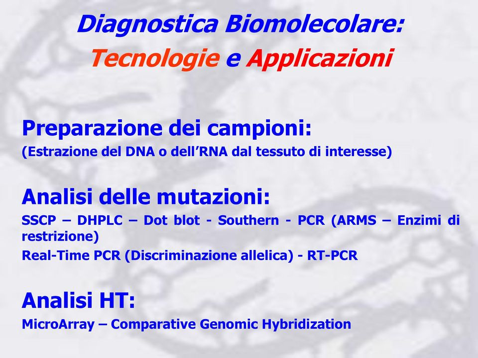 SSCP DHPLC Dot blot - Southern - PCR (ARMS Enzimi di restrizione) Real-Time PCR