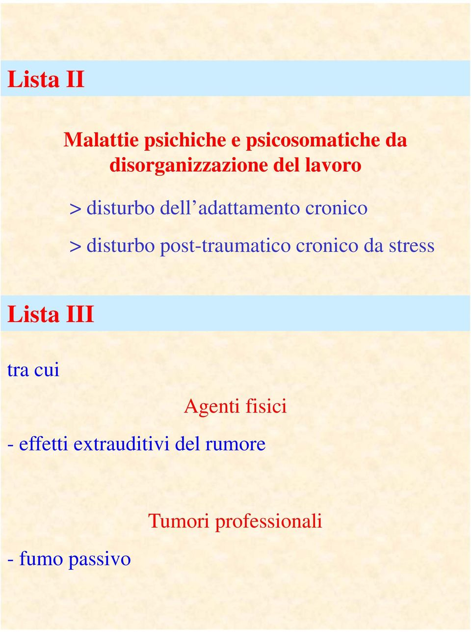 > disturbo post-traumatico cronico da stress Lista III tra cui