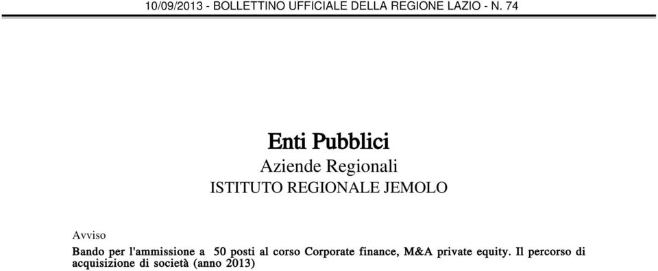 50 posti al corso Corporate finance, M&A private