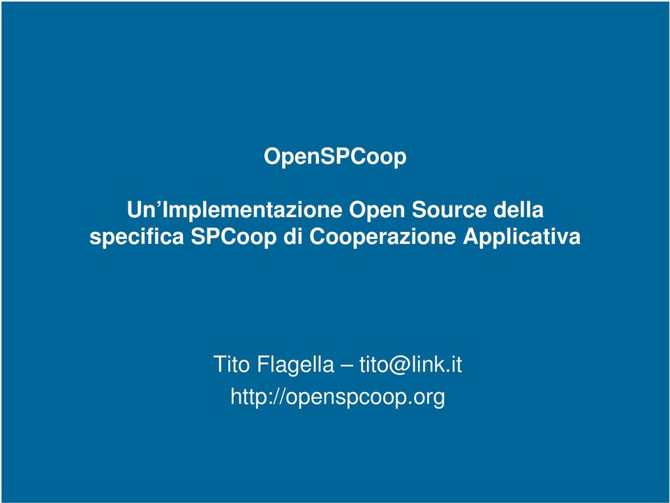 Cooperazione Applicativa Tito