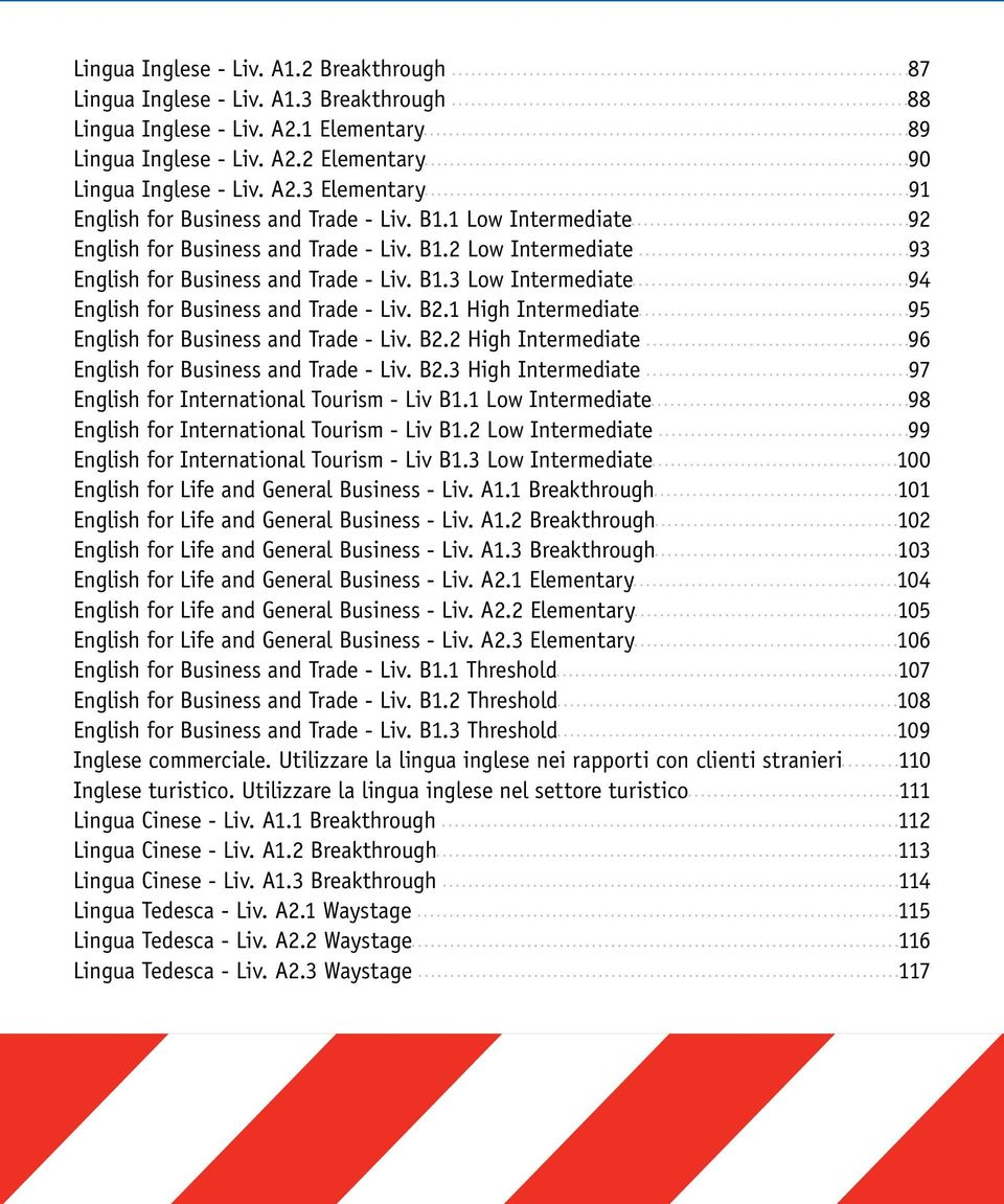 1 High Intermediate 95 English for Business and Trade - Liv. B2.2 High Intermediate 96 English for Business and Trade - Liv. B2.3 High Intermediate 97 English for International Tourism - Liv B1.