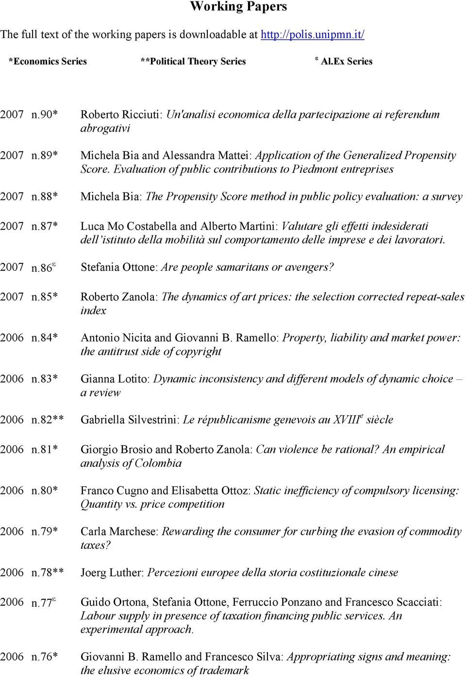 Evaluation of public contributions to Piedmont entreprises 2007 n.88* Michela Bia: The Propensity Score method in public policy evaluation: a survey 2007 n.