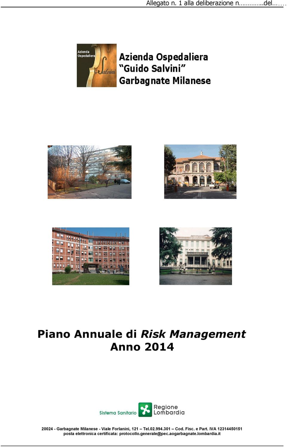 Piano Annuale di Risk Management Anno 2014 20024 - Garbagnate