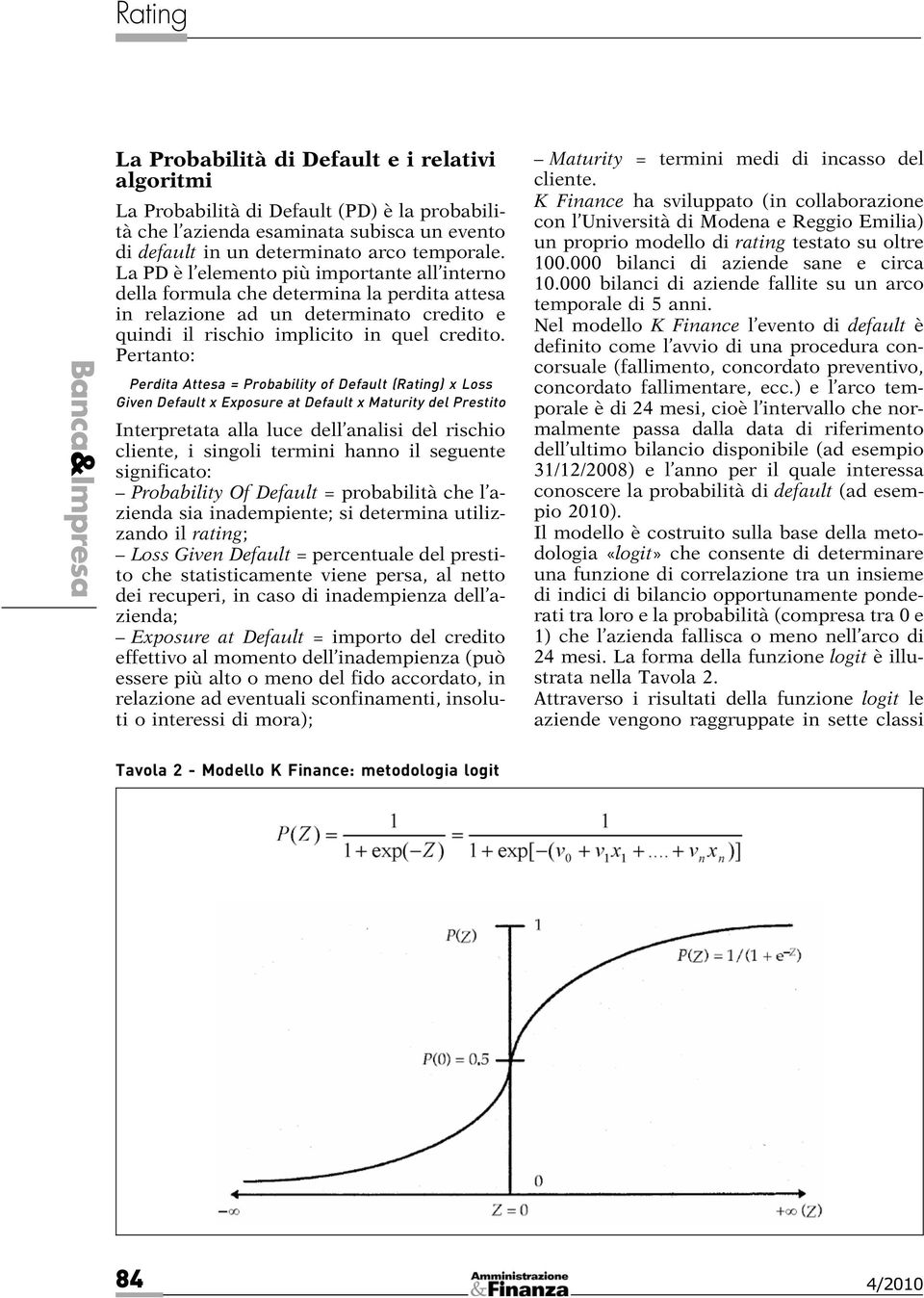 Pertanto: Perdita Attesa = Probability of Default (Rating) x Loss Given Default x Exposure at Default x Maturity del Prestito Interpretata alla luce dell analisi del rischio cliente, i singoli