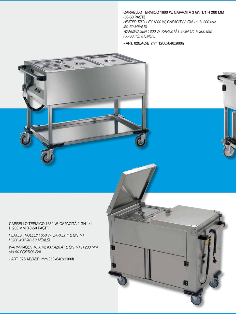 870,00 Carrello termico 1900 W, capacità 4 GN 1/1 h 200 mm (60-80 pasti) Heated trolley 1900 W, capacity 4 GN 1/1 h 200 mm (60-80 meals) Warmwagen 1900 W, Kapazität 4 GN