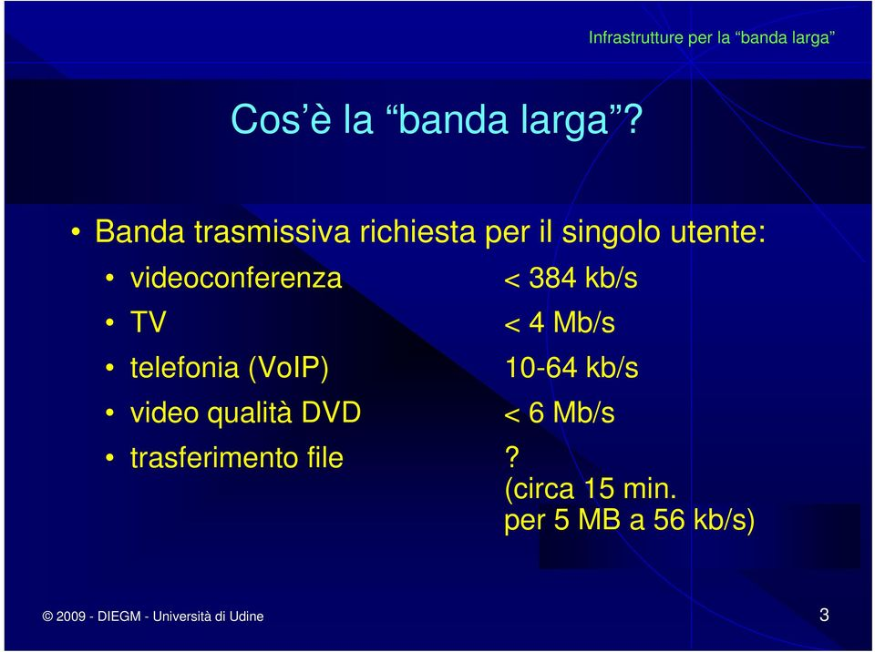 videoconferenza TV telefonia (VoIP) video qualità DVD < 384 kb/s