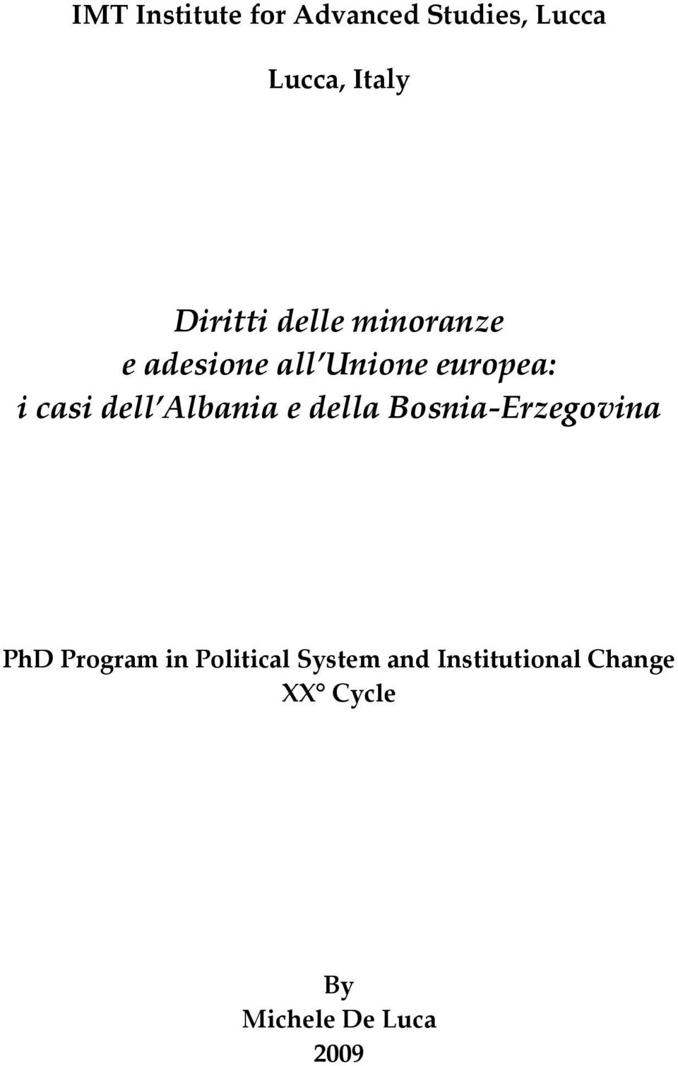 dell Albania e della Bosnia Erzegovina PhD Program in