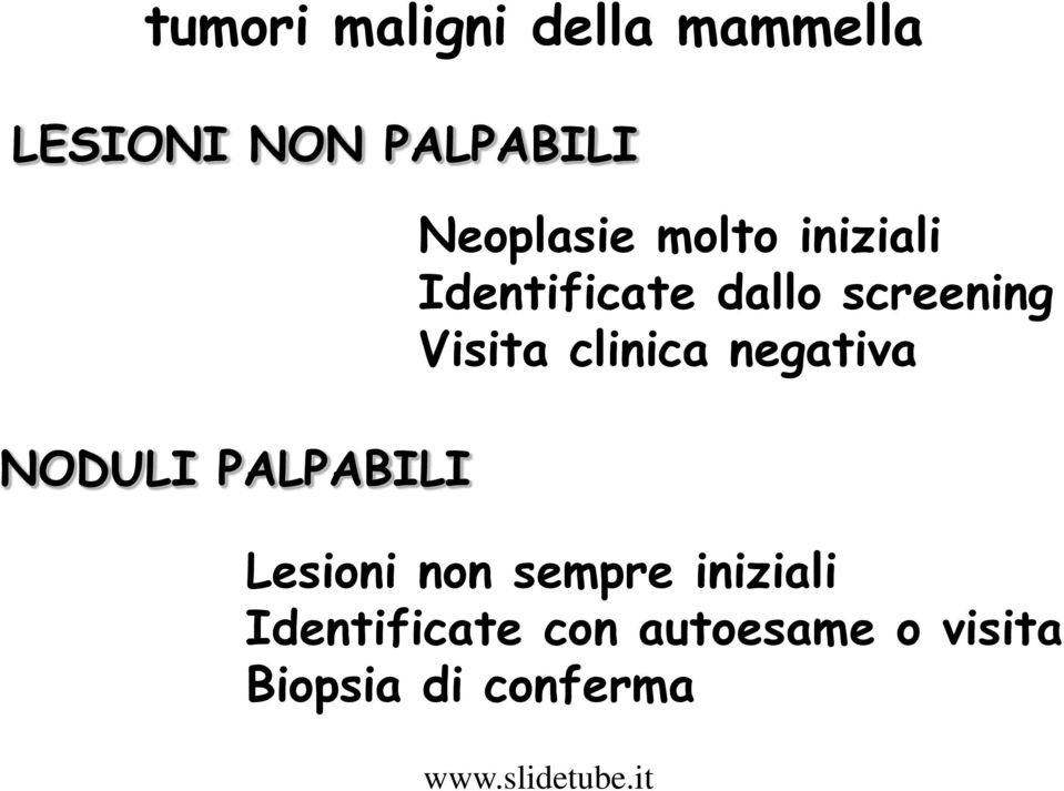 dallo screening Visita clinica negativa Lesioni non
