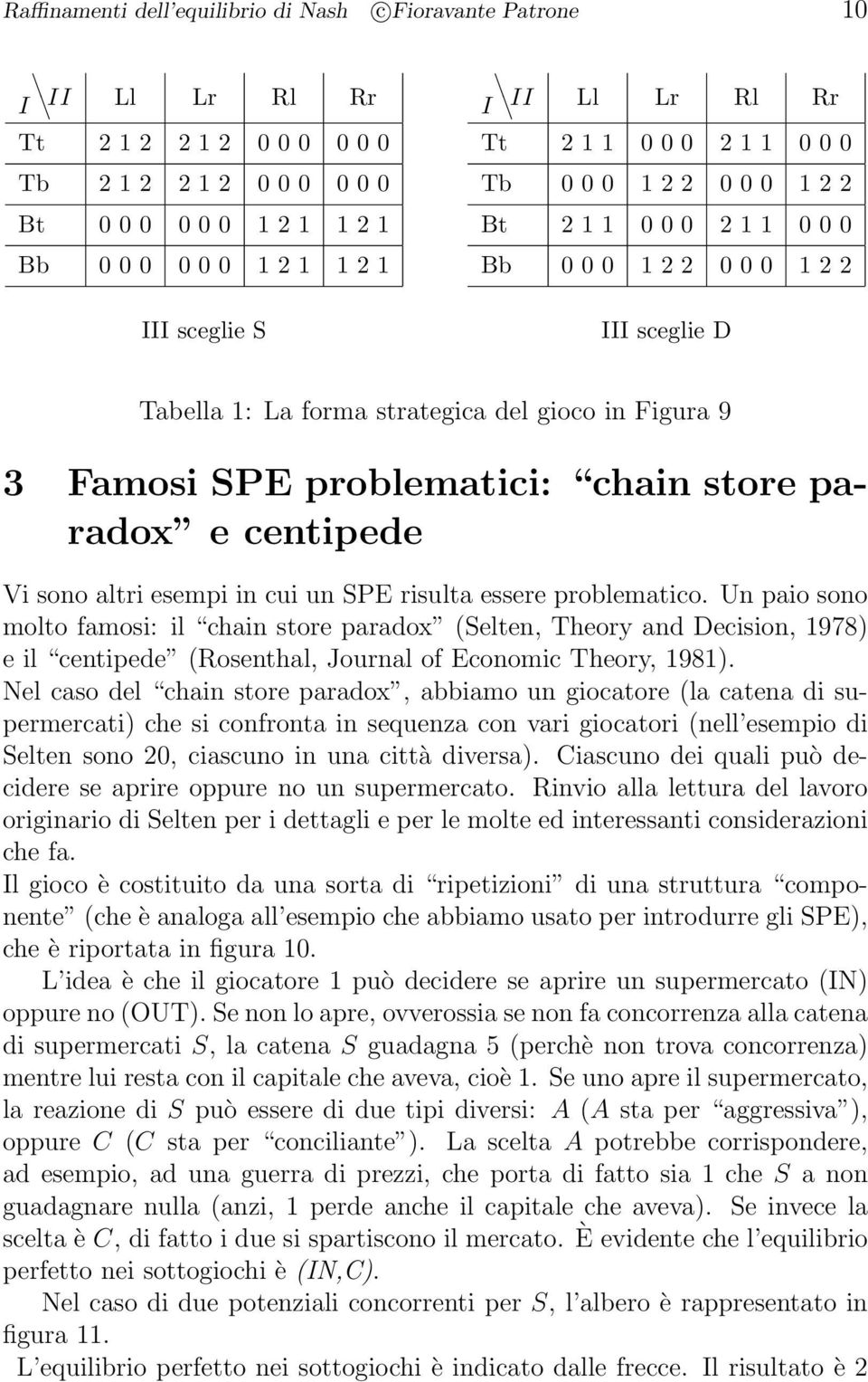 Un paio ono molto famoi: il hain tore paradox (Selten, Theory and Deiion, 978) e il entipede (Roenthal, Journal of Eonomi Theory, 98).