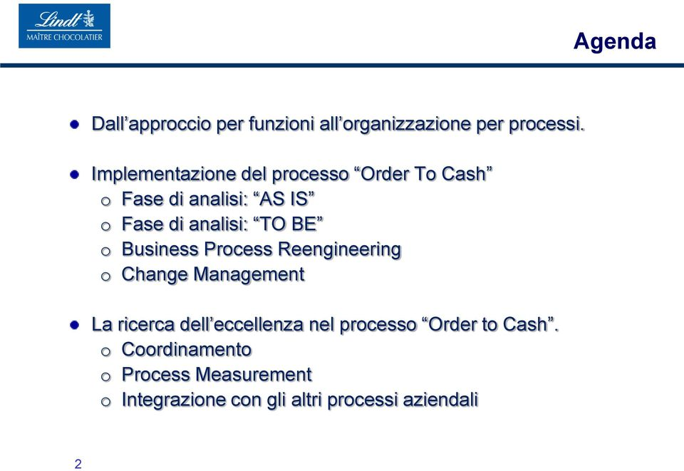 TO BE o Business Process Reengineering o Change Management La ricerca dell eccellenza