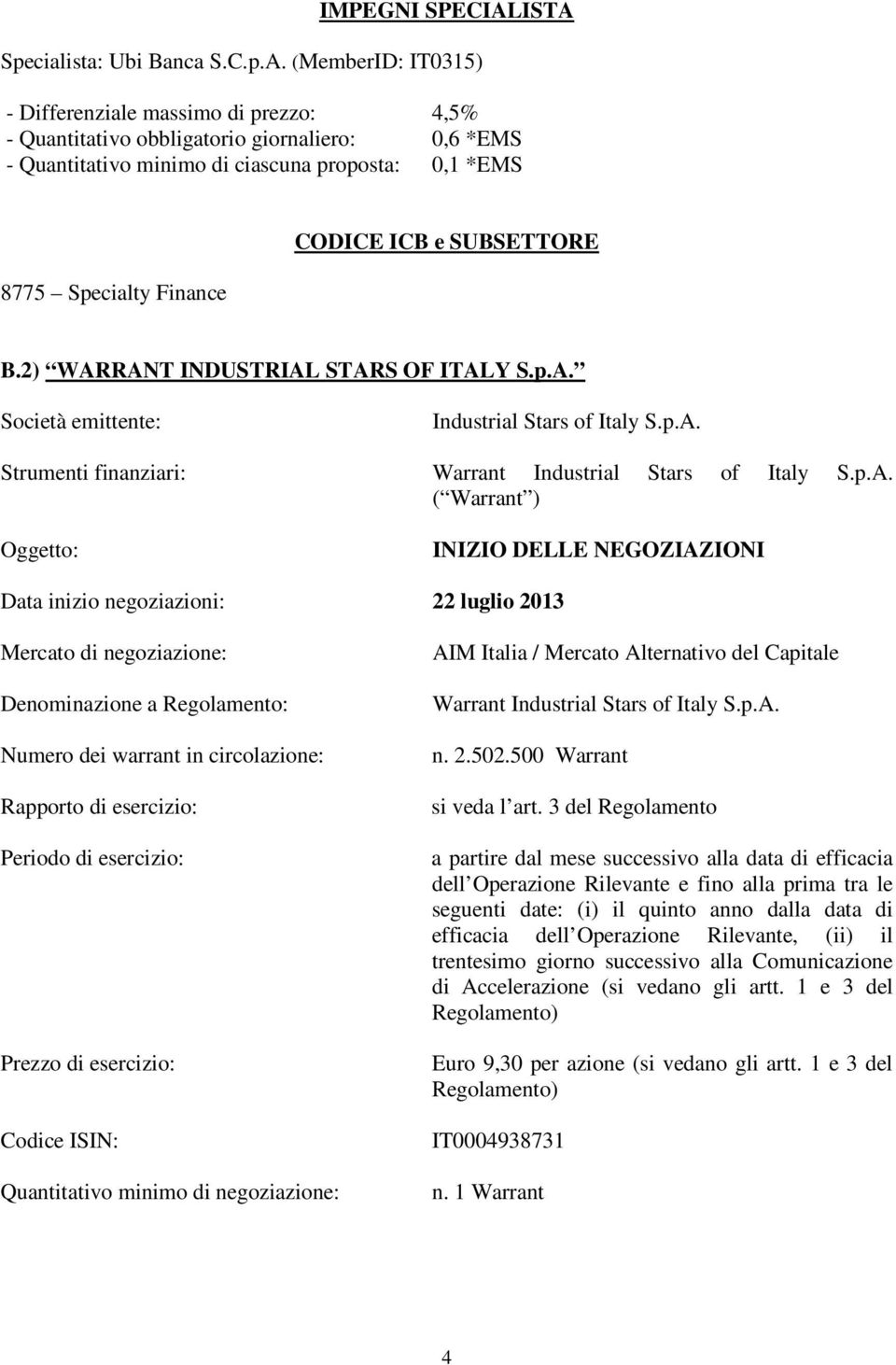 8775 Specialty Finance CODICE ICB e SUBSETTORE B.2) WAR