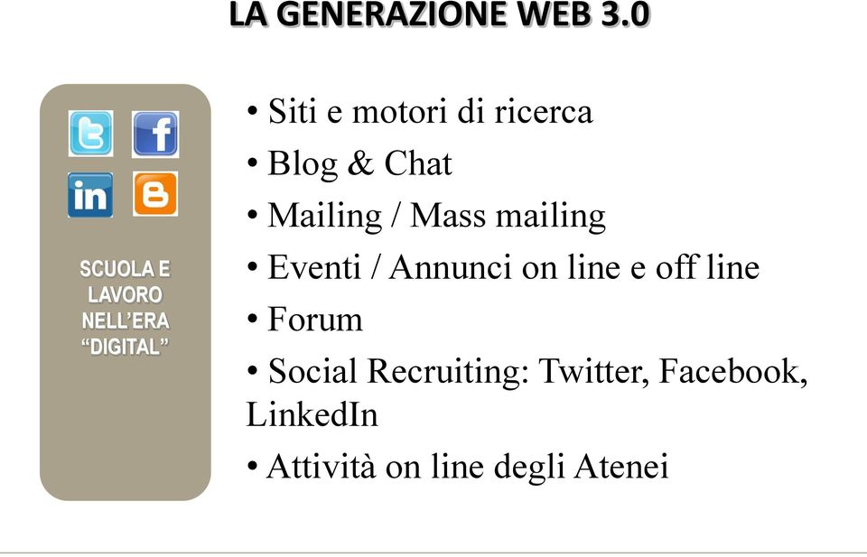 ricerca Blog & Chat Mailing / Mass mailing Eventi /