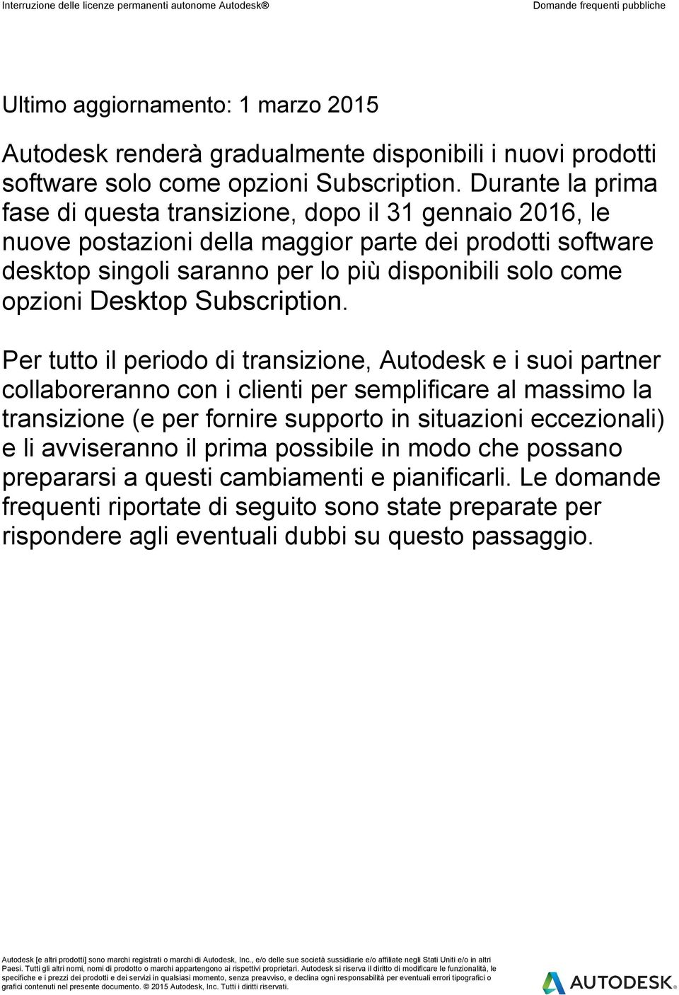 opzioni Desktop Subscription.