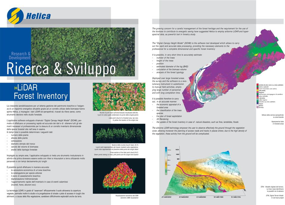 Research & Development Ricerca & Sviluppo The Digital Canopy Height Model (DCHM) is the software tool developed which allows to carry out the rapid and accurate data processing, providing the