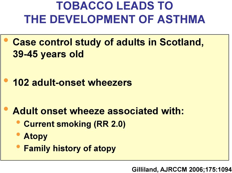 wheezers Adult onset wheeze associated with: Current smoking