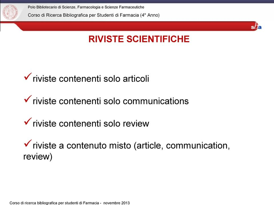 communications riviste contenenti solo review